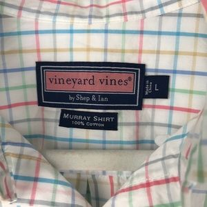 Vineyard Vines White Blue Pink Plaid Shirt Large